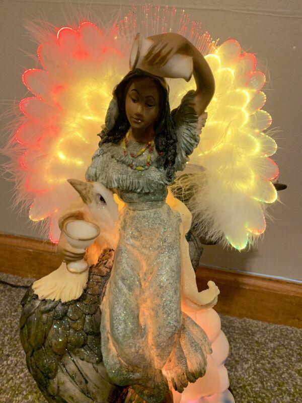 VintageFiber Optic Indian Angel Light Up Wings With Eagle