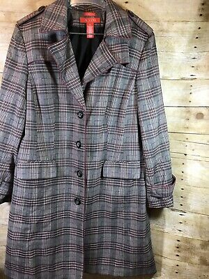 ANNE KLEIN A/LINE PLAID TRENCH COAT SZ XL Red and Gray missing belt