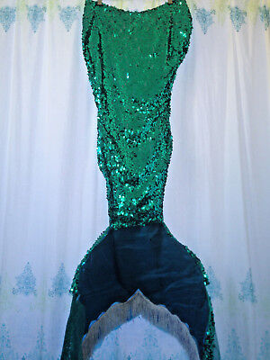 Handmade One Of A Kind Womem's Sequin Mermaid Skirt with removable tail Costume