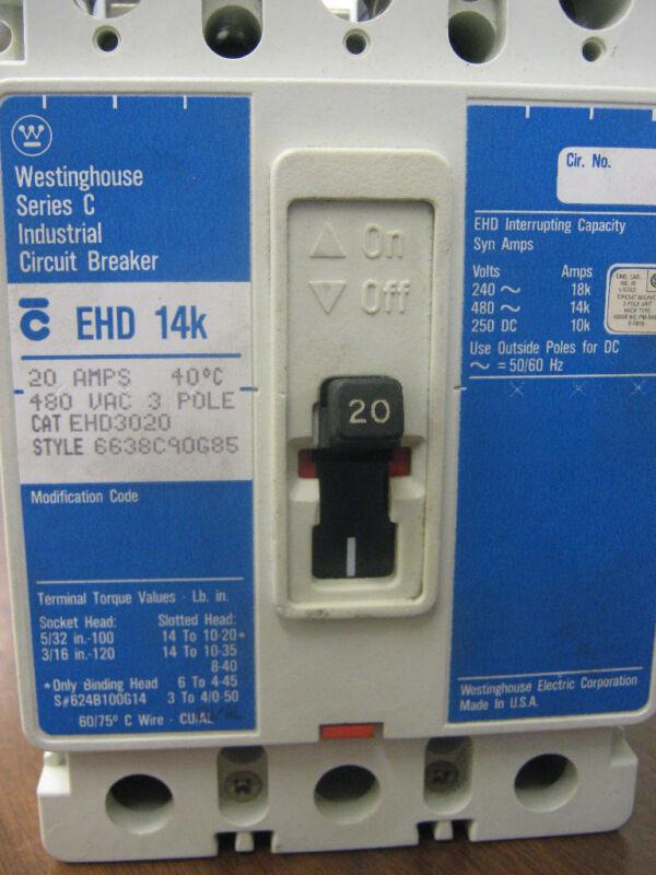 WESTINGHOUSE INDUSTRIAL CIRCUIT BREAKER 20 AMPS 40C 480 VAC 3 POLE CAT#EHD3020 S