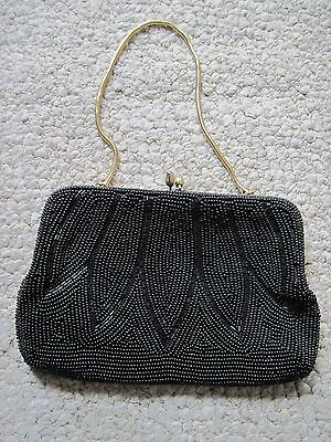 Vintage Black Beaded Evening Purse. Made In Japan. Expressly for Broadway. FAB!