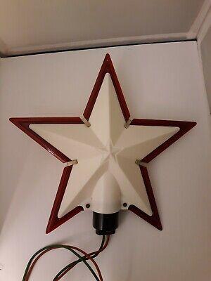 Vtg Christmas Tree Topper Ornament Light up Star Hard Plastic Red White Decor