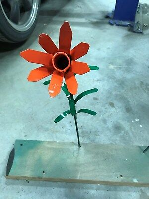 All metal Orange Lilly flower garden stake yard art