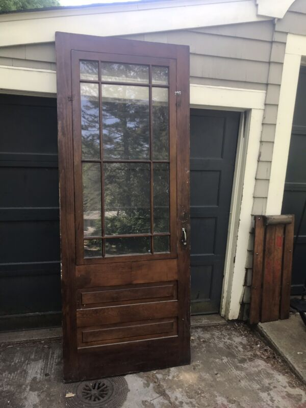 "Large 90"" Antique Glass Entry Door Arts Crafts Circa 1900 Prairie Style"