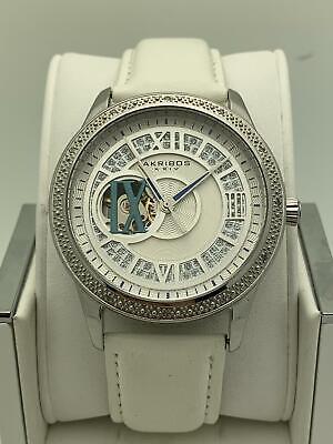 Akribos Ladies Silver Dial White Leather Strap Automatic Watch AK474SS