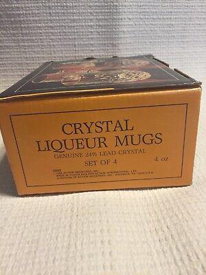Action Industries Vintage Crystal Liqueur Mugs Genuine Lead Crystal Yugoslavia