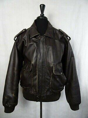 Men's Vintage Leather Flight Bomber Jacket 46R (XL)