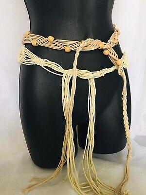 2 Vtg Macrame Hippie Long Hip Belt Cord Bead Sash Fringe Tie brown tan Natural Fringe Hip Belt