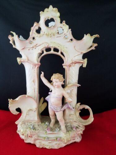 """Vintage Bisque Victorian Angel Figural  Vase 6.75x3.75x9.5""""h"""
