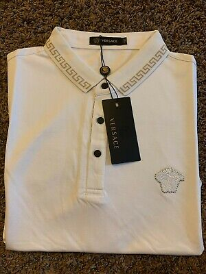 Versace T-shirt white polo slim fit Large lopel  medusa logo Nwt