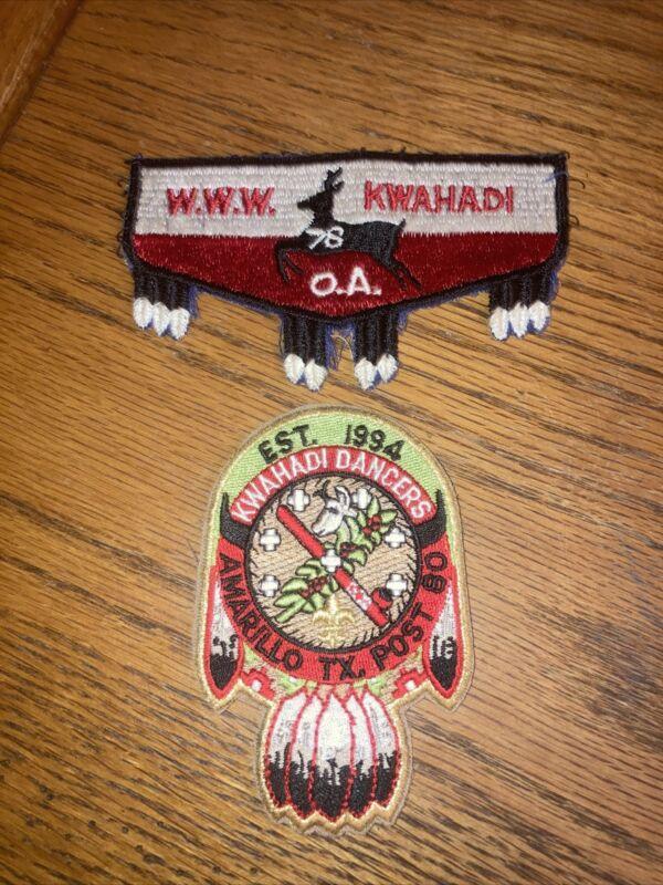 Lot 2 Boy Scout BSA Native American Patches OA WWW Kwahadi 1978 Amarillo Dancers