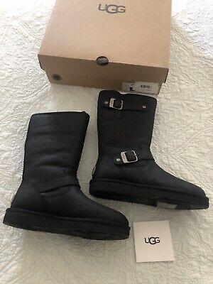 UGG Australia SUTTER Sheepskin Moto Black Leather Boots Women Size 7 New