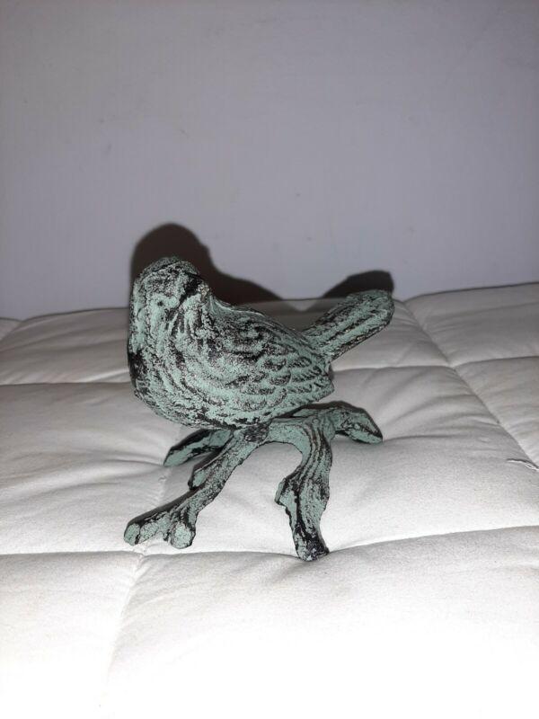 Cast Iron Bird on a Branch Figurine Heavy