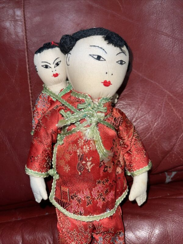 """VINTAGE ADA LUM? CHINESE 11"""" CLOTH DOLL MOTHER & BABY"""