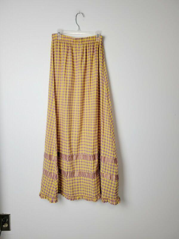 CP Shades Size M Check Print Ruffle Hem Maxi Skirt Yellow Purple Cotton