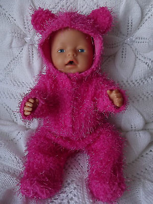 """PINK TEDDY ONESIE FOR 17"""" TINY TREASURES & BABY BORN DOLLS - 17"""" DOLL CLOTHES"""