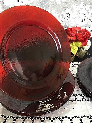 """Set of 4 Ruby Red Glass """"Textured Bottom"""" Dinner Plates 11"""""""