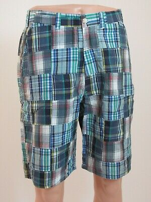 Madras Flat Front Short (MADRAS Plaid Short Men Designer Blue Green Cotton Lined 4 Pocket Flat Front W32