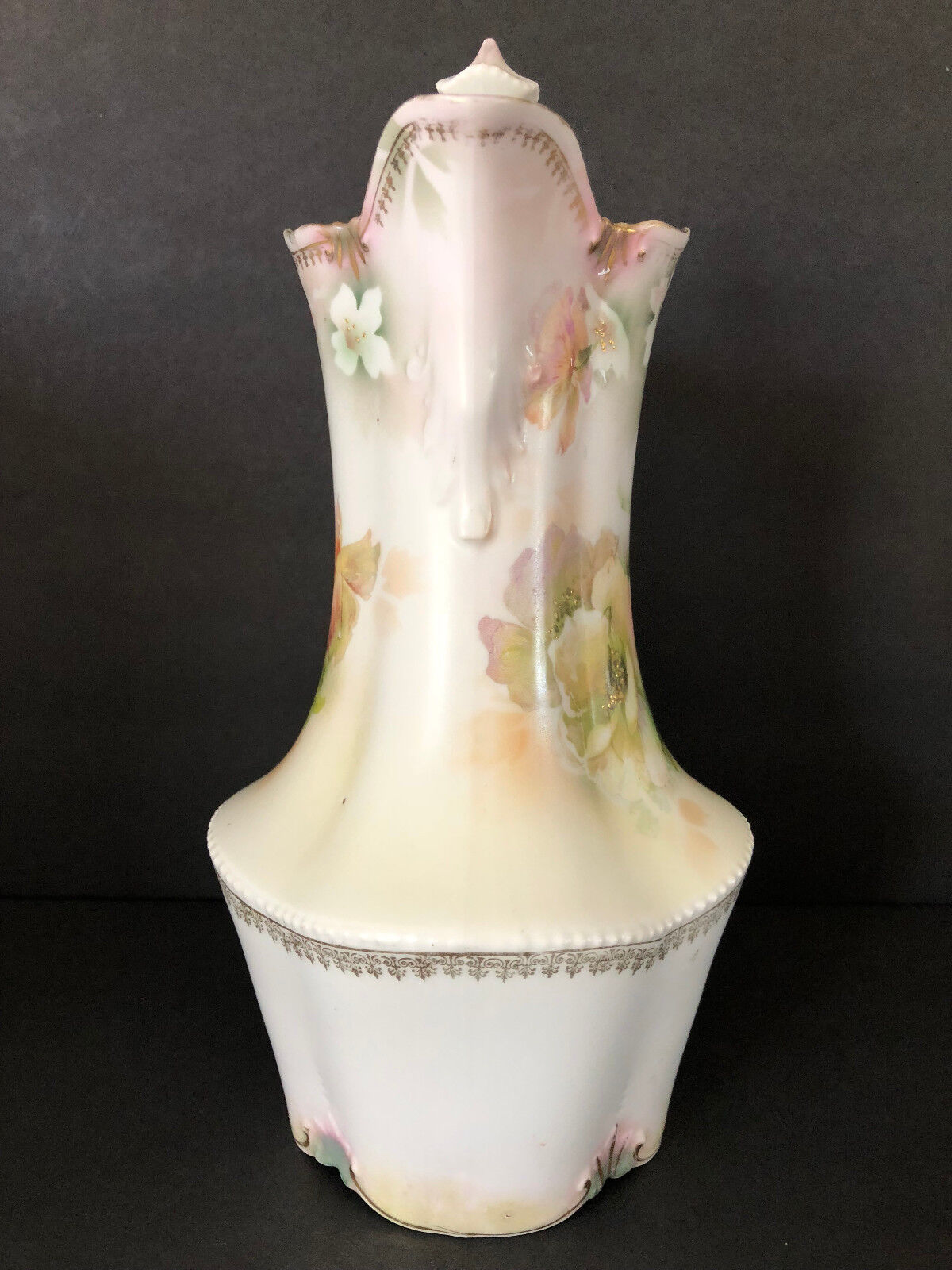 Antique RS Prussia Hand Painted Tea Coffee Pot Floral Roses Red Mark - $129.99