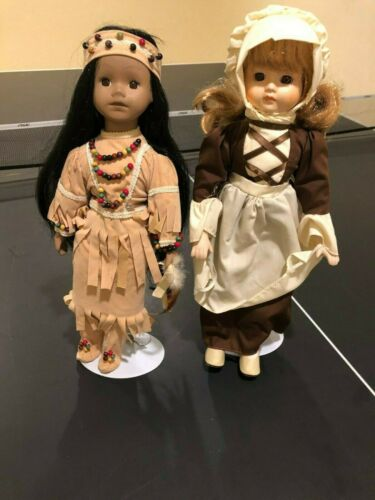 House of Lloyd Thanksgiving American Indian Maiden Doll & Pilgrim Priscilla Doll