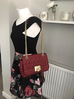 Micheal Kors Vivianne Red Quilted Sloan Shoulder Crossbody Leather Bag Excellent