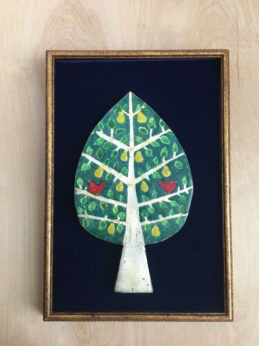 "Vintage 1960s Modern Copper Enamel Pear Tree Birds Framed Art Velvet Back 8""x12"""