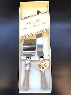 Wedding Cake Knife Server Set - Linen Wrapped Handle Cake Cutter for Anniversary