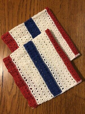 Vtg 50's UNUSED Kitchen Striped Dish Cloths July 4th Patriotic Red White Blue