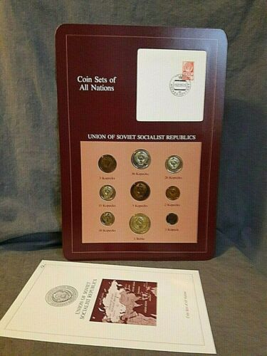 Coin Sets of All Nations Union of Soviet Socialist Republics 9 coin set & stamp