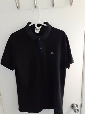 Lacoste Mens Size 7 Slim Fit Polo Black