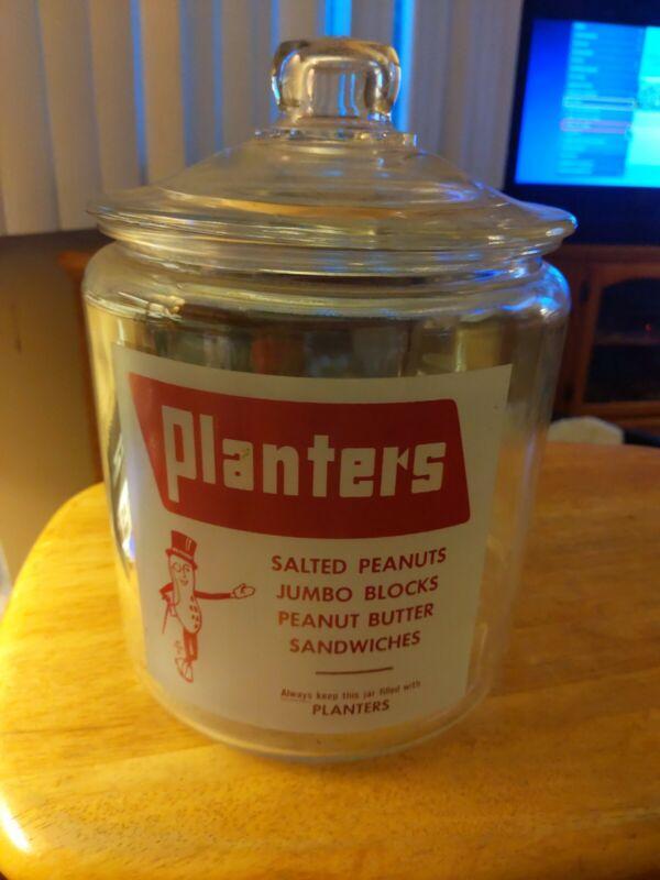 Planters  peanuts Store Display Glass Jar D1