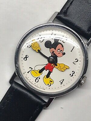 Vintage 1960s Timex Mickey Mouse Wrist Watch Mens Large 33mm Working