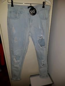 Ladies distressed boyfriend jeans