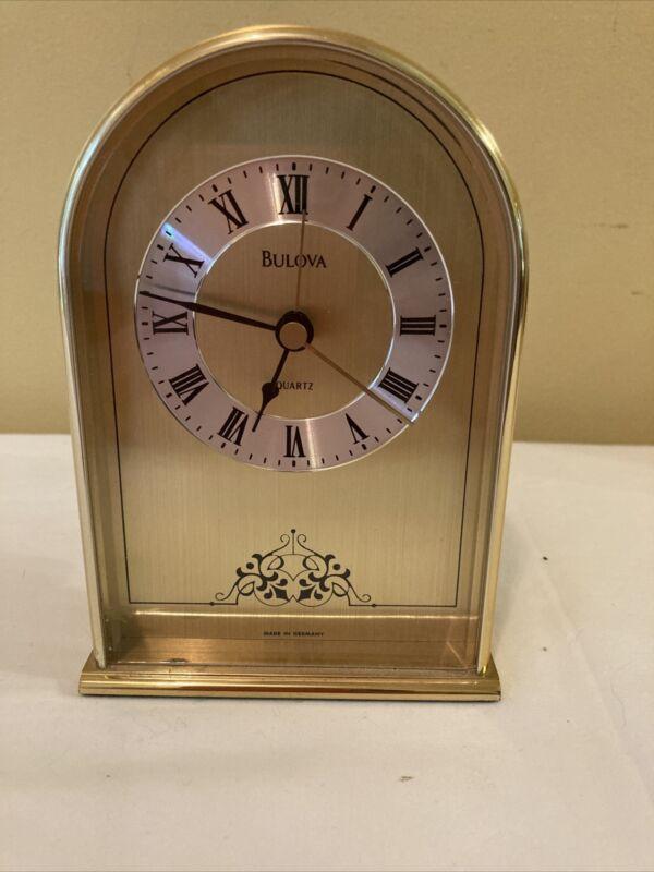 "Vintage Bulova Brass Table Quartz Clock W/ Alarm 5 3/8"" Made in Germany"