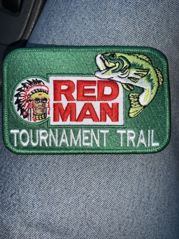 Red Man Fishing Tournament Tobacco Vintage Style Retro Iron Sew On Patch Cap Hat