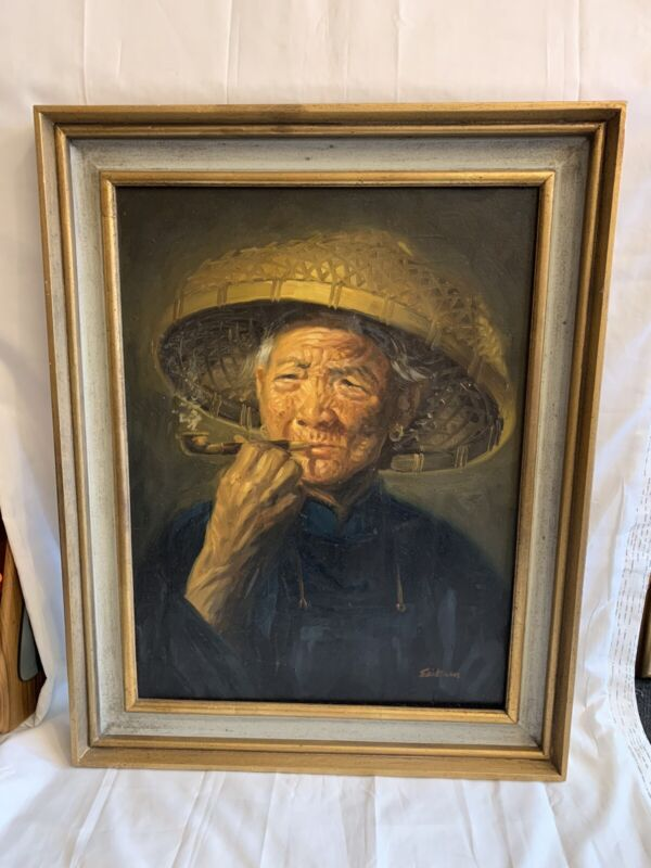 Vintage Oil Painting Chinese Asian Smoking Lady Signed EASTMAN