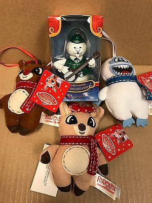 Lot TV Rudolph the red nosed reindeer Sam snowman figure & 3 plush Ornaments New