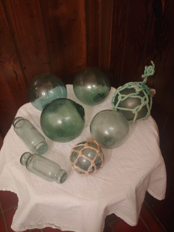Vintage japanese glass fishing floats lot of 8 FOUND IN THE PACIFIC OCEAN