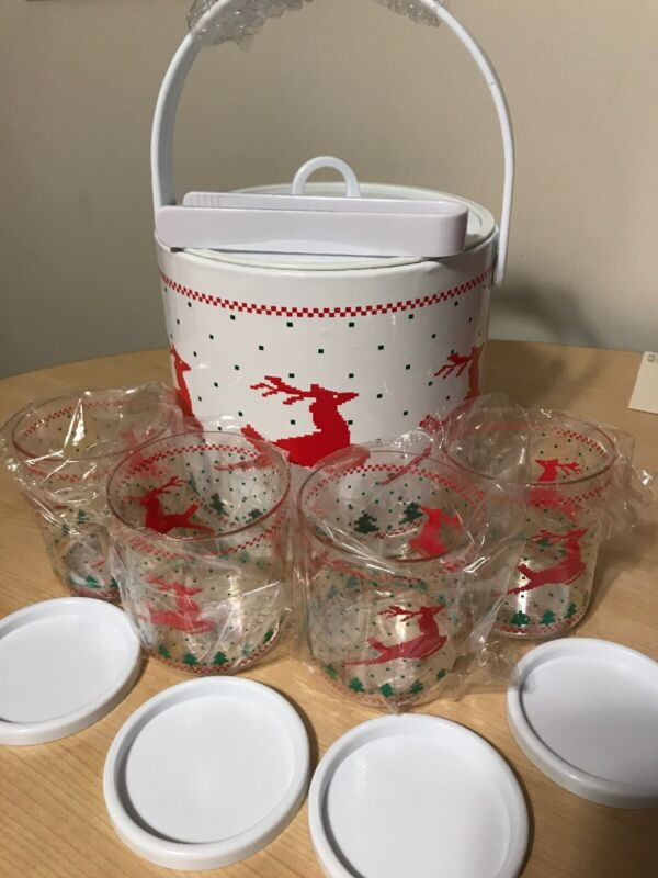 Vintage Christmas Reindeer Ice Bucket Glass Set Tongs Coasters Holiday Unused??