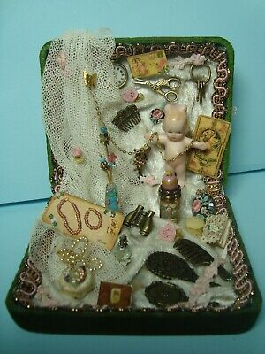 CATHY HANSEN ALL BISQUE DOLL in BOX with JEWELRY, PERFUME, COMB, BRUSH, MIRROR