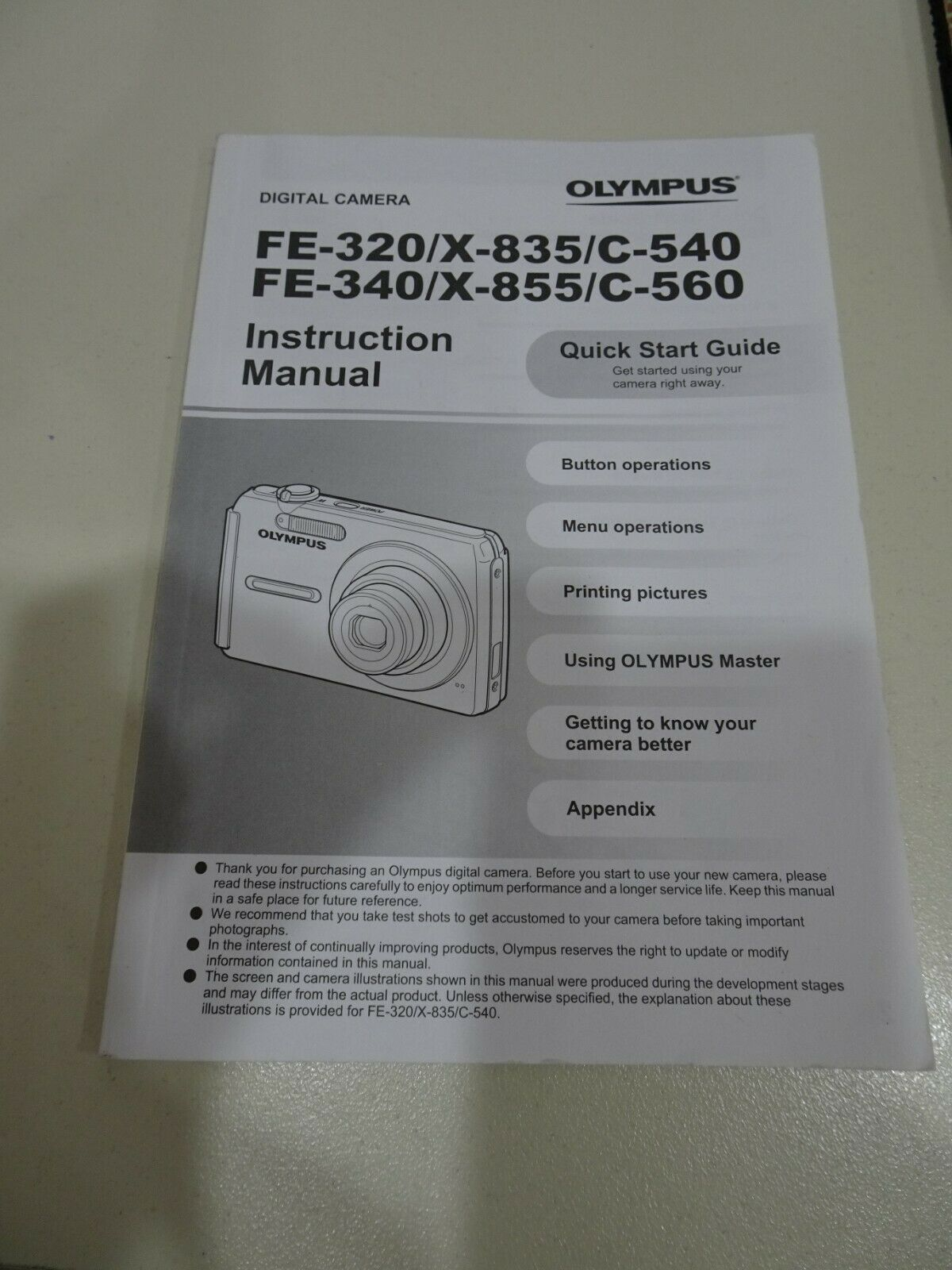 OLYMPUS FE-320 FE-340 DIGITAL CAMERA Manual Instructions Booklet Guide ONLY - $5.99