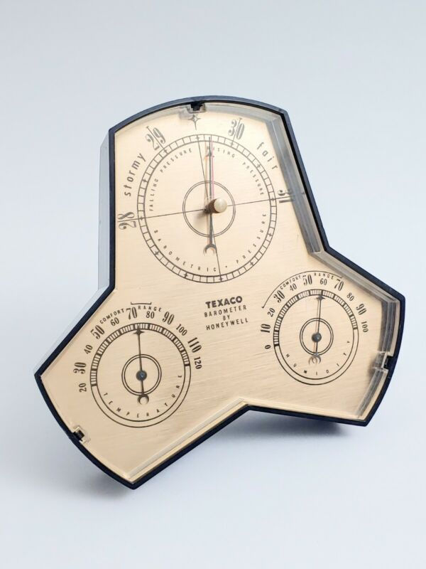 Vintage Texaco Barometer Thermometer Weather Station by Honeywell USA