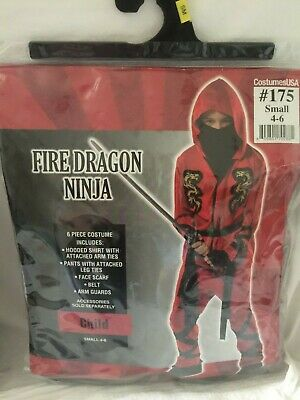 Fire Dragon Ninja Costume (CostumesUSA Fire Dragon Ninja Costume, Sz Small (4-6))