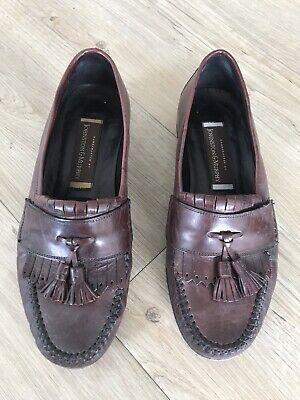 Vintage JOHNSTON & MURPHY MEN'S SLIP-ON TASSELED LOAFER SHOES - Burgundy UK 8