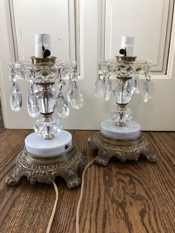 Antique Brass And Marble Crystal Lamps (2)