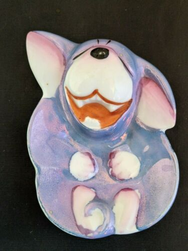 Vintage Tea Bag Holder Happy Blue Dog   Japan