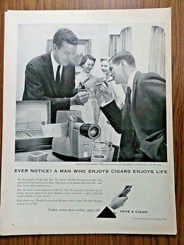 1957 Cigars Ad  The Man who Enjoys Cigars Enjoys Life Hint to Hostesses