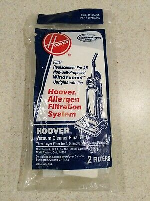 HOOVER Replacement Final Filter WIND TUNNEL/ Spirit Upright Vacuum (2) -