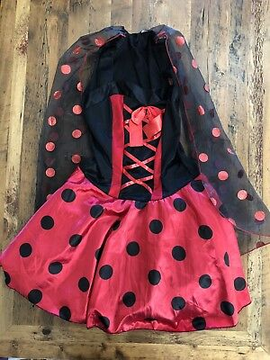 Adult Flirty Ladybug Costume Women's Size Medium Dress Attached Wings Halloween