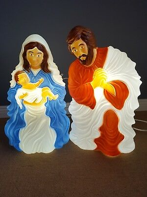 Outdoor Lighted Nativity (Grand Venture Blow Mold Nativity Jesus Mary Joseph Lot Outdoor Lighted  )